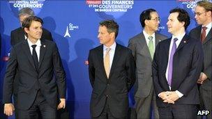 French Finance Minister Francois Baroin (left), US Treasury Secretary Timothy Geithner, and Chancellor George Osborne at a previous meeting earlier this month