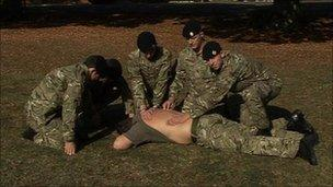 Soldiers from Abingdon's 4 Logistic Support regiment demonstrate first aid