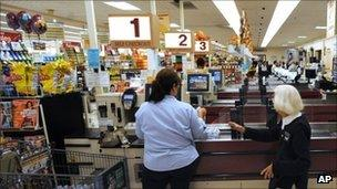 Checkout tills at a Big Y supermarket in Connecticut