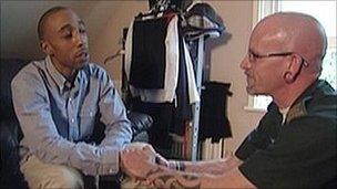 Robert Williamson (left) meets medic Neil Blackwell for the first time since his recovery