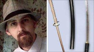 David Williams and the kendo stick and samurai sword used to attack him