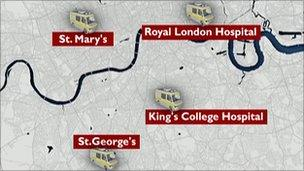 A map of London, showing the locations of the four major trauma units