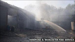 The damaged unit. Photo: Hereford & Worcester Fire Service.