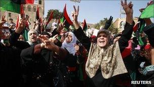 Women celebrate the Muammar Gaddafi's death in Tripoli, 21 October 2011