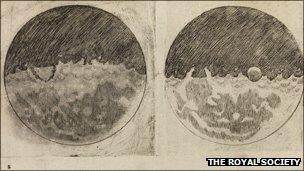Images of the moon taken from Galileo's Starry Messenger, 1610