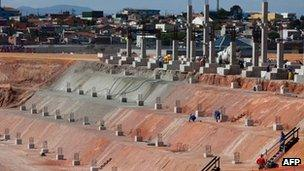 Building at the site of the new Itaquera Stadium in Sao Paulo on 4 October 2011