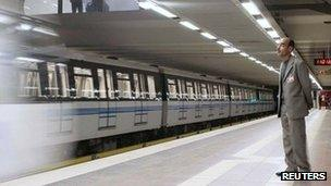 A new metro subway train arrives at the newly opened metro system in Algiers, October 31, 2011.