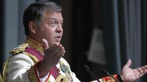 King Abdullah of Jordan addressing parliament - October 2011
