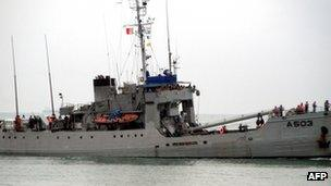 A Nigerian navy ship takes part in a counter-piracy patrol off Benin on 28 September 2011