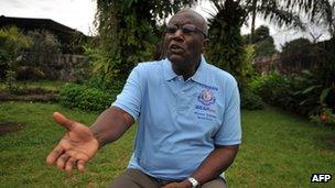 Winston Tubman, talking with journalists at his house in Monrovia on 8 October 2011