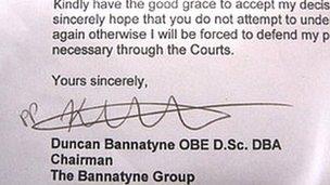 Llythyr Duncan Bannatyne