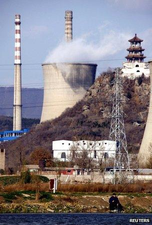Power station and pagoda in China