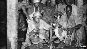 Miners in the Robinson Deep Gold Mine in Kimberley, South Africa, in 1939