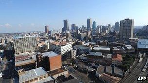 Skyline of central Johannesburg