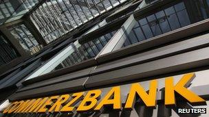 Commerzbank logo outside HQ