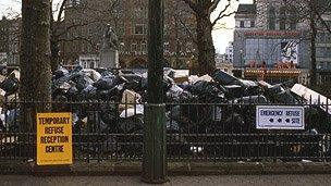 Leicester Square is buried in uncollected rubbish in the 1979 Winter of Discontent