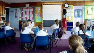Teacher and pupils in a classroom