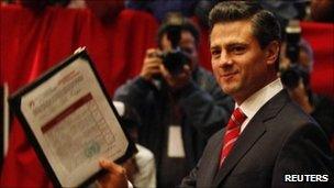 Enrique Pena Nieto filing his candidacy for president of Mexico