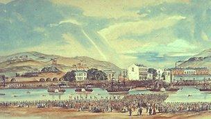 Llun o Abertawe yn 1859 gan W Campion