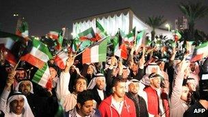 Opposition supporters protest in Kuwait City (28 November 2011)