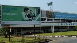 Chinese sign outside Lusaka Airport
