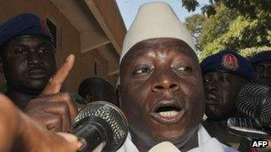 The Gambia's President Yahya Jammeh speaks to journalists on 24 November 2011