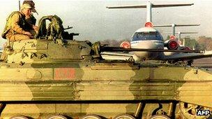 Russian armoured personnel carrier guarding Dushanbe airport in 1992