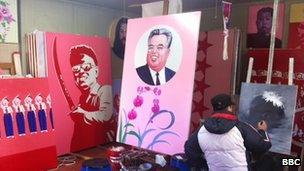 Kim Il-sung billboard, drawn by Sunmu