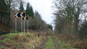Lleoliad estyniad trac Rheilffordd Llangollen