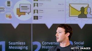 Mark Zuckerberg presenting Facebook Mail