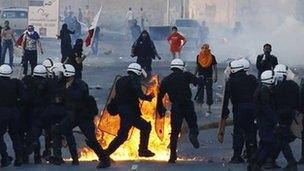 Protest in the village of Sitra south of Manama, 1 January