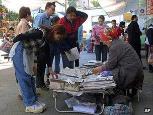 Newspapers seller in Tashkent