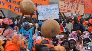 Supporters of Idrissa Seck, mayor of Thies, react during his investiture as candidate for the upcoming presidential elections - 4 January 2012, in Thies