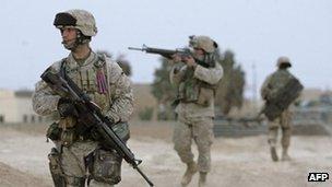 US marines patrolled in Haditha, near Baghdad, in 2005