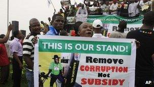 Protest against removal of fuel subsidy in Lagos, Nigeria - 9 January 2012