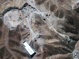 Satellite image provided by GeoEye in September 2009 showing facility under construction inside a mountain some 20 miles (32km) north-east of Qom, Iran