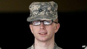 Pte Bradley Manning appearing for his pretrial hearing at Fort Meade, Maryland, 22 December 2011
