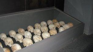 Skulls in a display cabinet in Kigali's Genocide Memorial Centre, Rwanda