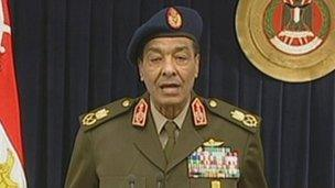 Field Marshal Hussein Tantawi makes a televised address (24 January 2012)