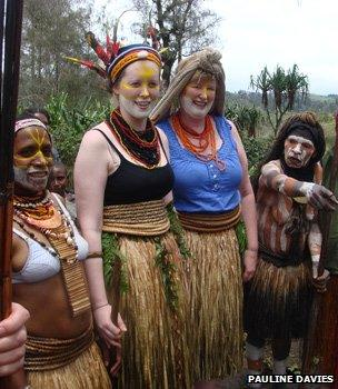 Danielle, her mother and Komya villagers