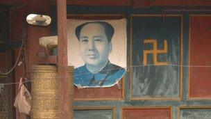 Picture of Mao Zedong in a village in Sichuan province
