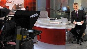 Tim Wilcox on the set of the BBC News Channel