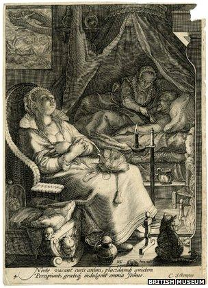 A woman tending to her husband in the middle of the night by Jan Saenredam, 1595
