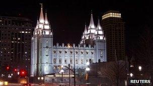 LDS' Mormon Temple in downtown Salt Lake City, Utah 27 January 2012