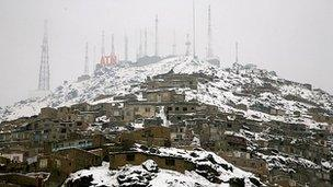 Snow-covered hill in Kabul