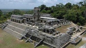 Mayan ruins at Palenque in southern Mexico