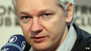 Julian Assange at a press conference in London, 27 February 2012
