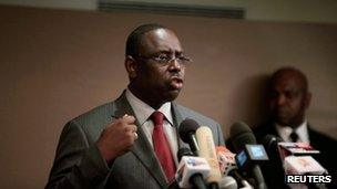 Senegalese presidential candidate Macky Sall speaks at a news conference in Dakar, Senegal, on 29 February