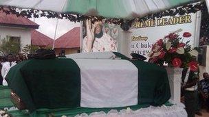 Col Ojukwu's coffin in his family home