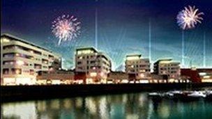 Argraff artist o ddatblygiad Ocean Plaza yn Y Rhyl